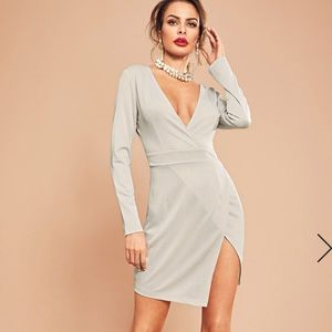 Dresses & Skirts - Sensuous plunging neck, wrap dress in light grey